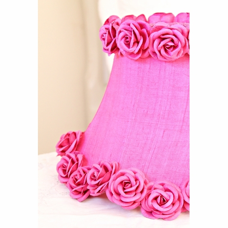 Hot Pink Dupioni Silk and Roses Lamp Shade