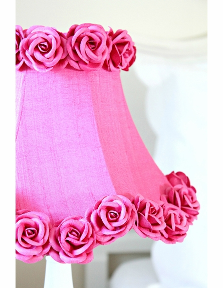 Hot Pink Dupioni Silk and Roses Table Lamp