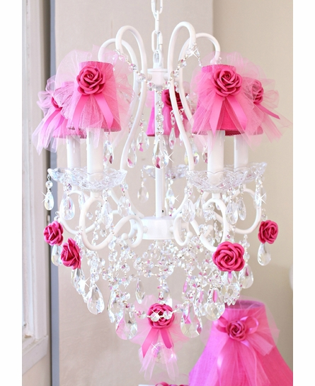 Hot Pink Dupioni Silk and Tulle Chandelier Shade