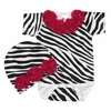 Hot Pink Zebra Rose Onesie and Cap Set
