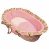 Houndstooth Pink Ruffled Moses Basket