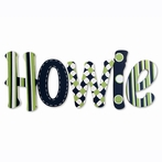 Howie Navy Hand Painted Wall Letters