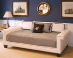 Hudson Full Daybed in Angel Fabric with Polished Nickel Nailheads