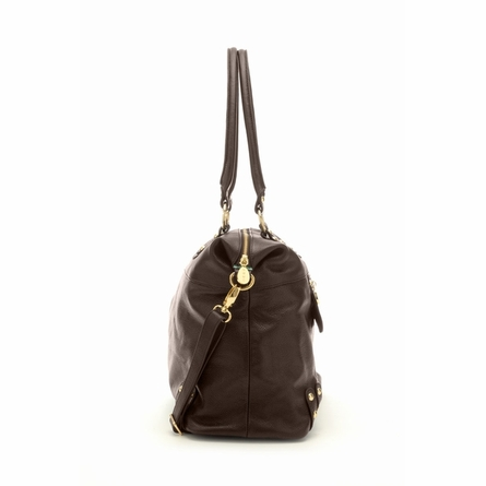 Hudson Leather Diaper Bag in Chocolate Brown