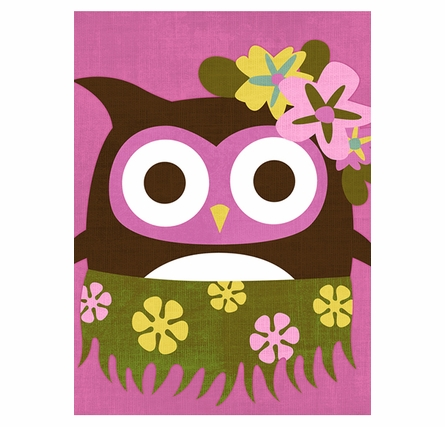 Hula Owl Canvas Reproduction