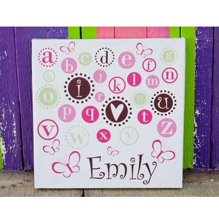 I Love You Alphabet Pink Canvas Wall Art