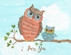 I Love You Baby Owl Canvas Reproduction