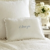 I Love You Blue Embroidered Boudoir Pillow