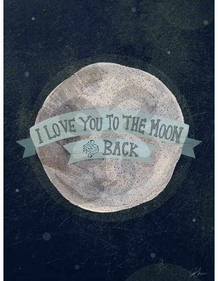 I Love You To The Moon Blue Canvas Reproduction