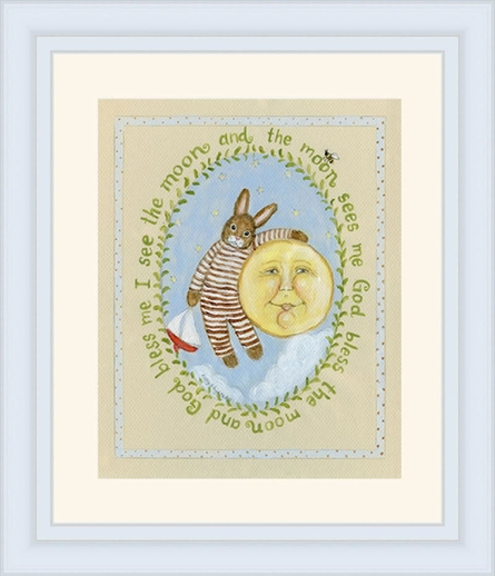 I See Moon Vintage Boy Framed Art