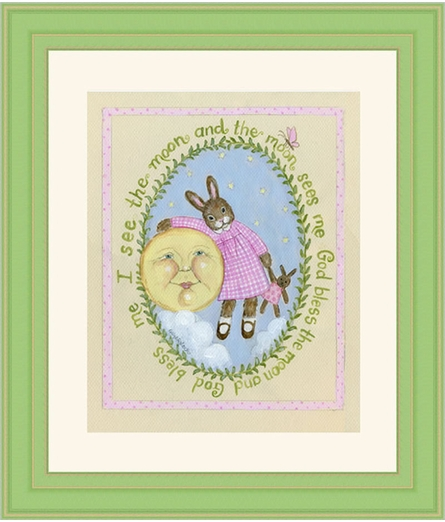 I See Moon Vintage Girl Framed Art