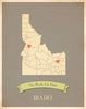 Idaho My Roots State Map Art Print - Blue