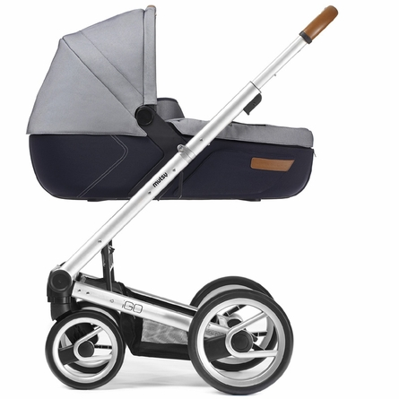 Igo Urban Nomad Stroller in White and Blue with Silver Frame