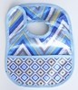 Ikat Blue Chevron Coated Bib