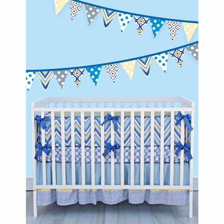 Ikat Blue Mod Crib Sheet