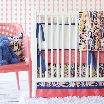 Ikat Coral Girl Crib Sheet