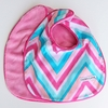 Ikat Pink Chevron Bib Set