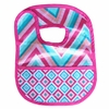 Ikat Pink Chevron Coated Bib