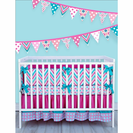 Ikat Pink Diamond Crib Sheet