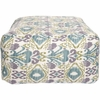 Ikat Pouf in Purple and Teal