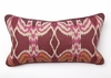 Ikat Print with Red Piping Long Throw Pillow