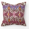 Ikat Print with Red Piping Square Throw Pillow