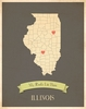 Illinois My Roots State Map Art Print - Blue