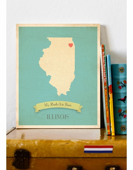 Illinois My Roots State Map Art Print