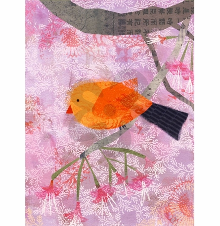 In Fine Feather - Orange Bird Canvas Wall Art