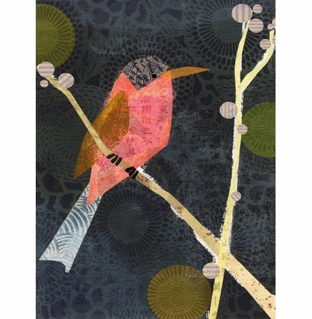 In Fine Feather - Pink Bird Canvas Wall Art