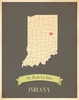 Indiana My Roots State Map Art Print - Blue