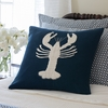 Indigo Lobster Linen Throw Pillow
