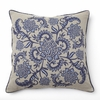 Indigo Print with Blue Embroidery Throw Pillow