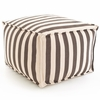 Indoor/Outdoor Pouf in Trimaran Charcoal and Ivory