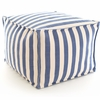 Indoor/Outdoor Pouf in Trimaran Denim and Ivory