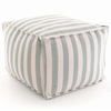Indoor/Outdoor Pouf in Trimaran Light Blue and Ivory