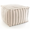 Indoor/Outdoor Pouf in Trimaran Platinum and Ivory