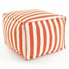 Indoor/Outdoor Pouf in Trimaran Tangerine and White