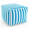 Indoor/Outdoor Pouf in Trimaran Turquoise and White