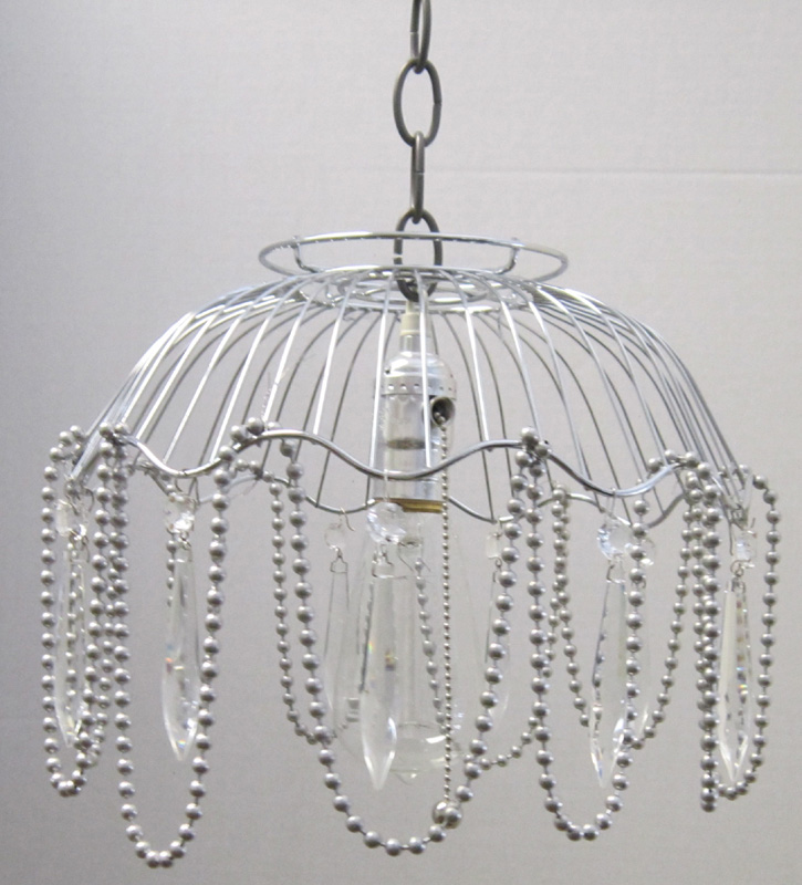 Industrial Atomical Wire Basket Pendant Light With Crystals