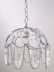 Industrial Scalloped Wire Basket Pendant Light with Crystals