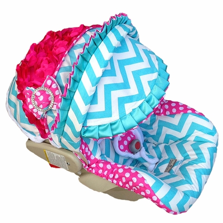 Infant Car Seat Cover in Baby Chloe Rose