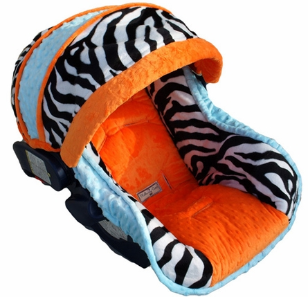 Infant Car Seat Cover in Baby Cool Zebra