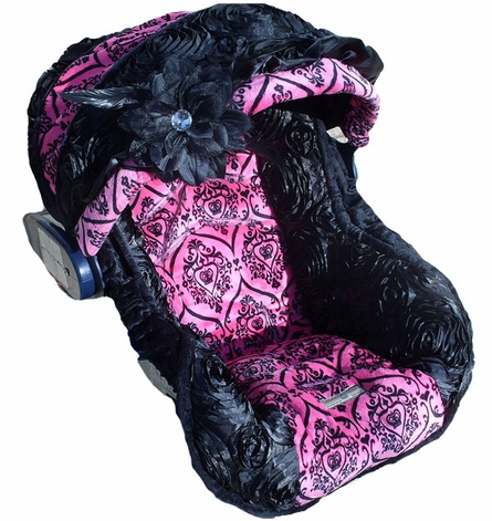 Infant Car Seat Cover in Baby Diva Rose