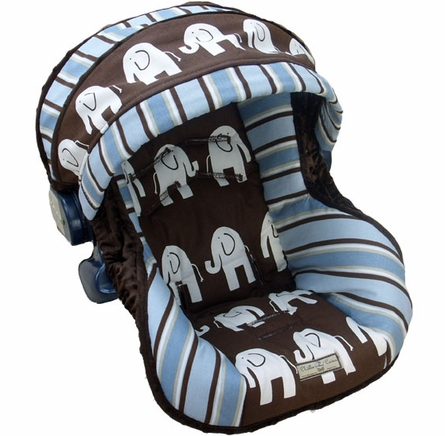 Infant Car Seat Cover in Baby Elephant Walk