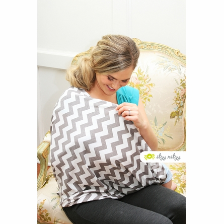 Infinity Scarf Nursing Cover in Charcoal Grey Chevron