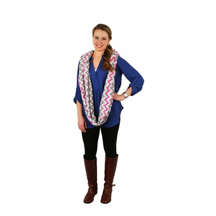 Infinity Scarf Nursing Cover in Pink Kiss Chevron