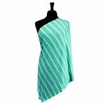 Infinity Scarf Nursing Cover in Seaside Stripe Turquoise