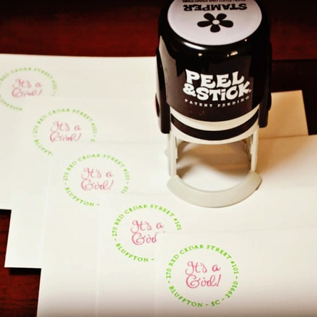 Initial Peel & Stick Stamp with Self Inking Stamp Body