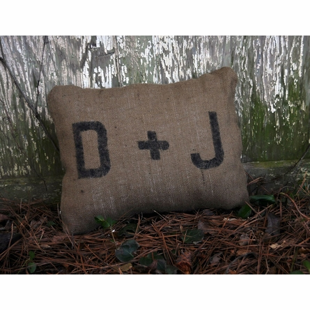 Initial Burlap Throw Pillow